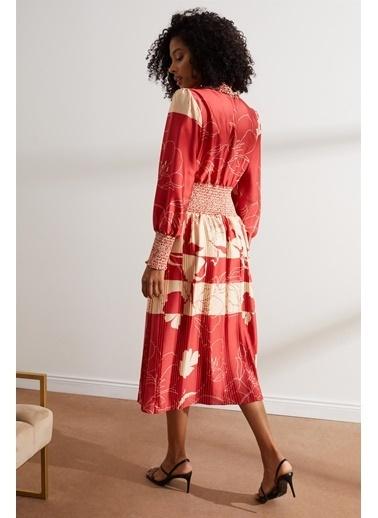 Setre   Gipeli Midi Boy Balon Kol Desenli Elbise Kırmızı
